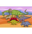dinosaurs group cartoon vector image