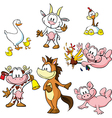 farm animals - funny cartoon vector image