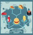 fast food color isometric concept icons vector image vector image