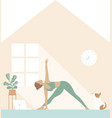 fit woman doing yoga morning workout at home vector image vector image