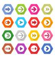 Flat arrow icon set hexagon web button vector image