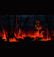 forest fire burning trees at night wood wildfire vector image