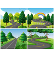 four scenes of roads in the park vector image vector image