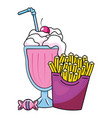 french fries and milk shake vector image