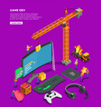 game industry isometric composition vector image vector image