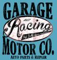 garage car repair trucks typography t-shirt vector image