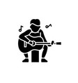 guitar player black icon sign on isolated vector image
