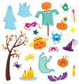 Happy Halloween set with pumpkins ghosts spiders vector image vector image
