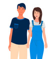happy smiling couple or friends posing for vector image