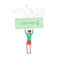 happy woman holding a bank check for a million vector image