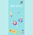 hello summer top view swimming pool vector image
