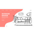 interior design landing page sketch of vector image