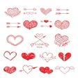 Love red heart and arrow sketch set