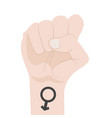 male fist raised up isolated on white background vector image vector image