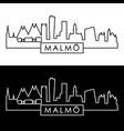 malmo city skyline linear style editable file vector image vector image