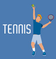 man play tennis with uniform and racket with ball vector image vector image