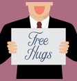 man showing free hugs sign vector image vector image