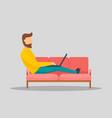 man working on laptop at sofa banner horizontal vector image