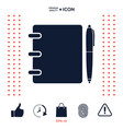 notebook address phone book with pen symbol icon vector image