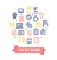 office work color round design template line icon vector image