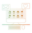 people picture profiles social network in desktop vector image