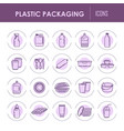 plastic packaging containers line icons vector image