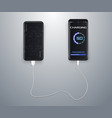 powerbank charging a black smartphone on vector image vector image