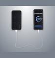 powerbank charging a black smartphone vector image