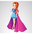 Princess In Blue Dress And Long Coat vector image