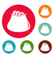 purse money icons circle set vector image