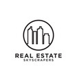 real estate building skyscrapers mono line logo vector image vector image