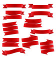 red ribbon banners template labels set blank vector image vector image