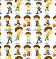 Seamless boy in different actions vector image vector image