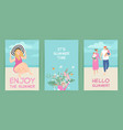 set cards with summer cute character and flowers vector image