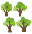set of four different cartoon green trees vector image vector image