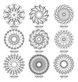 set of nine vintage geometric circular elements vector image vector image