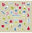 Set of winter icon stickers vector image