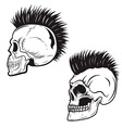 set skull with mohawk hairstyle isolated on vector image