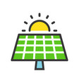 solar cell panel and sun green energy icon filled vector image