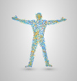Standing man of many small circles vector image vector image