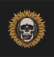 sunflower skull vector image vector image