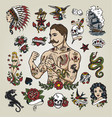 Tattoo flash set with hipster man