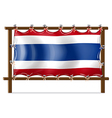The flag of Thailand attached to the wooden frame vector image vector image