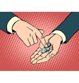 The little coins in his hand vector image