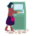 woman withdrawing money at atm point coronavirus vector image