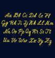 yellow neon script uppercase and lowercase vector image vector image