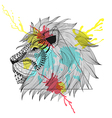 Zentangle stylized Lion face in triangle frame vector image