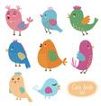 Cute birds set vector image