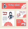 set of cards template for sewing school tailor vector image