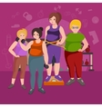 Fat womans Young pretty cartoon style fitness vector image